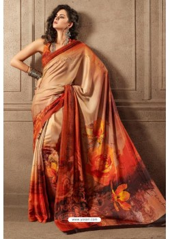 Peach Linen Satin Digital Printed Saree