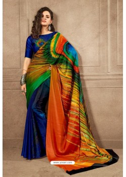 Royal Blue Linen Satin Digital Printed Saree