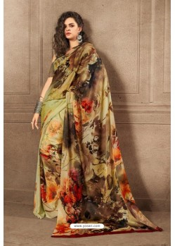 Green And Multi Linen Satin Digital Printed Saree