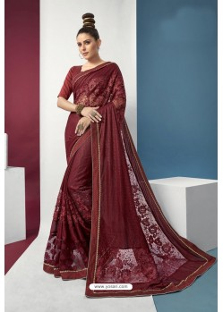 Maroon Embroidered Party Wear Saree