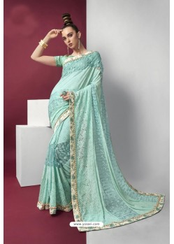 Sky Blue Embroidered Party Wear Saree