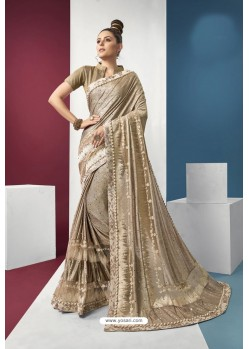 Golden Embroidered Party Wear Saree