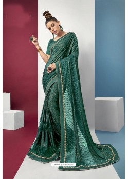 Dark Green Embroidered Party Wear Saree