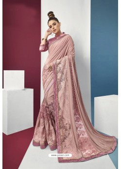 Baby Pink Embroidered Party Wear Saree