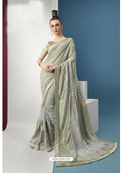 Sea Green Embroidered Party Wear Saree