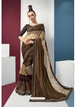Coffee Embroidered Party Wear Saree