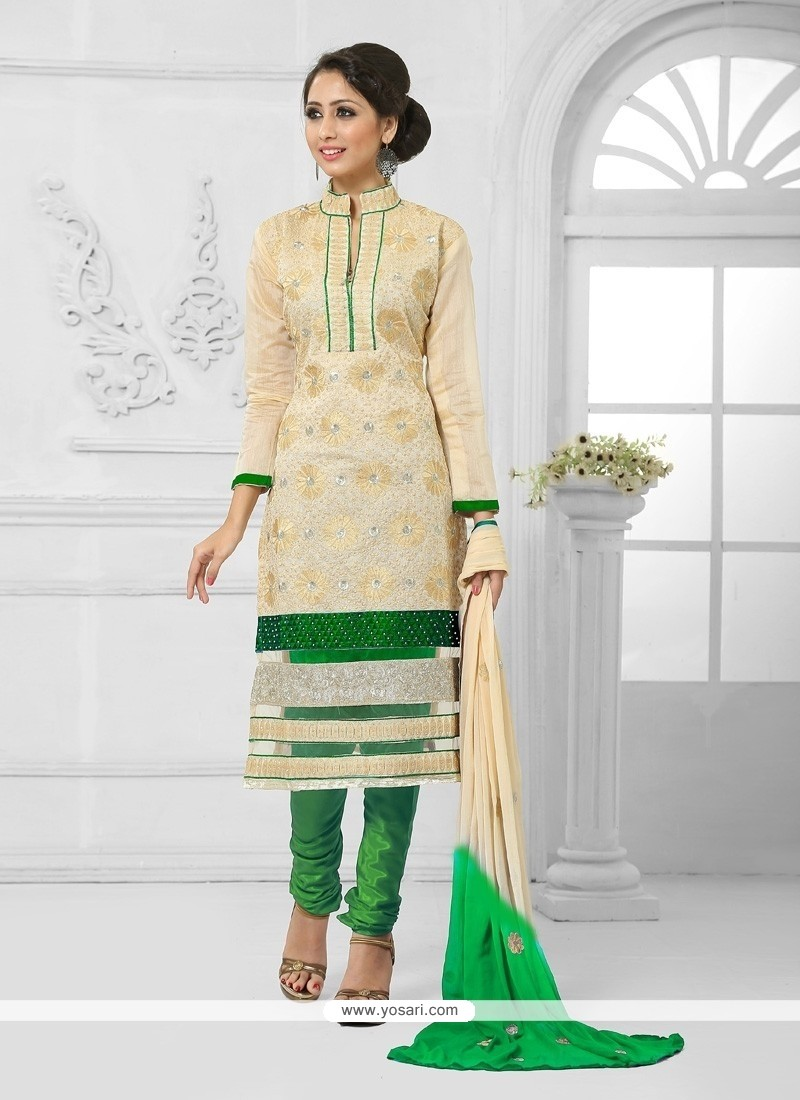 Masterly Green And Cream Resham Work Churidar Salwar Suit
