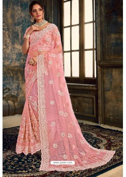 Pink Net Zari Worked Party Wear Saree