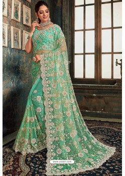 Jade Green Net Zari Worked Party Wear Saree