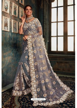 Grey Net Zari Worked Party Wear Saree