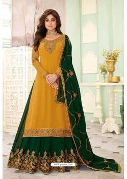 Mustard And Green Designer Lehenga Style Suit