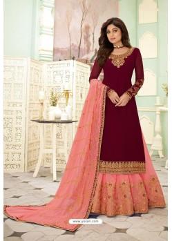 Wine And Pink Designer Lehenga Style Suit