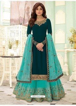 Teal And Blue Designer Lehenga Style Suit
