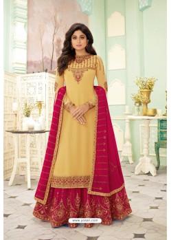 Yellow And Rani Designer Lehenga Style Suit