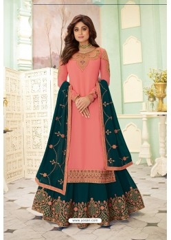 Pink And Teal Designer Lehenga Style Suit