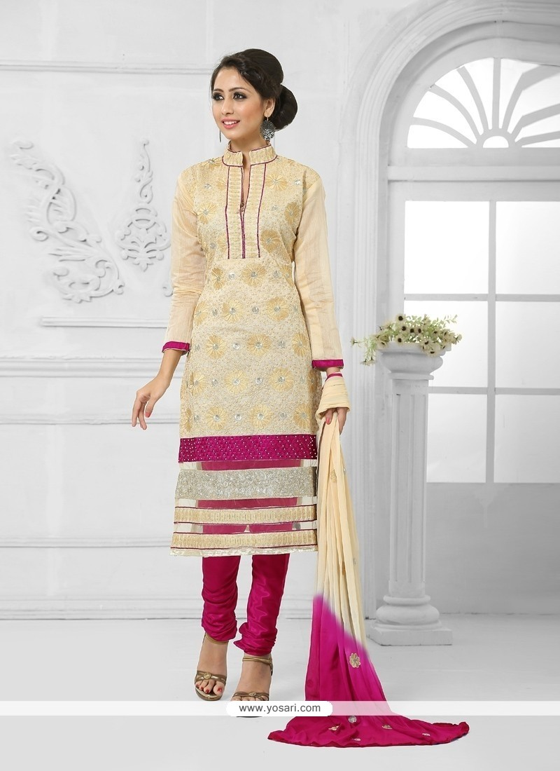 Preferable Cotton Lace Work Churidar Salwar Suit