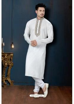 Off White Rafel Cotton Kurta Pajama