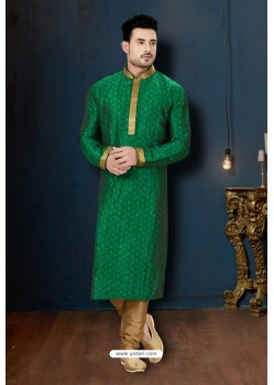 Dark Green And Beige Malbari Booti Kurta Pajama