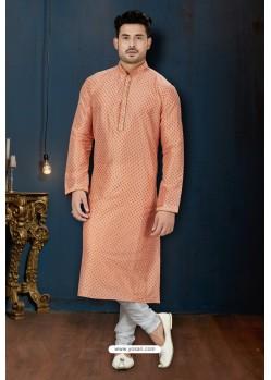Light Orange And Off White Dupion Print Kurta Pajama