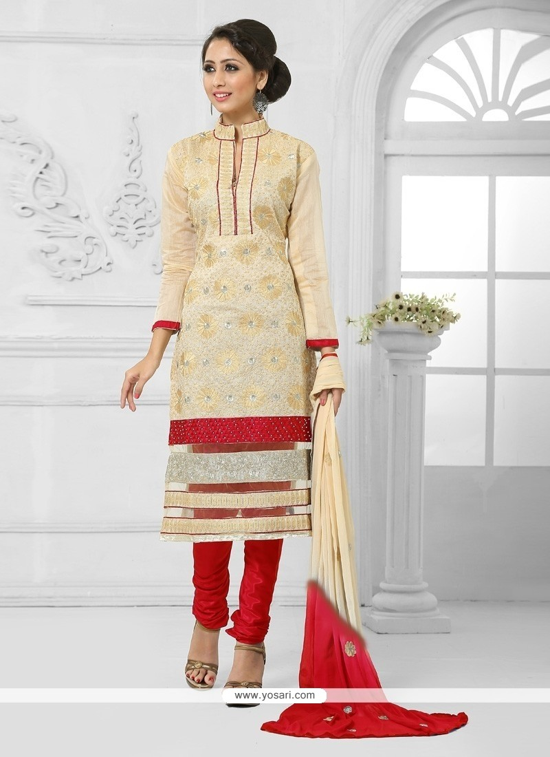 Aesthetic Red And Cream Churidar Salwar Kameez