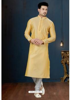 Yellow And Off White DP. Jacquard Kurta Pajama