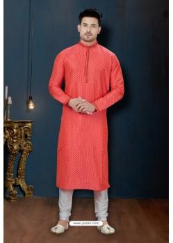 Red And Off White Dupion Print Kurta Pajama