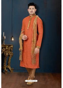 Orange And Beige Dupion Print Kurta Pajama