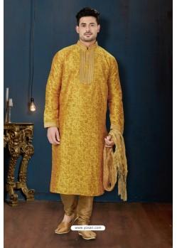 Yellow And Beige Dupion Print Kurta Pajama