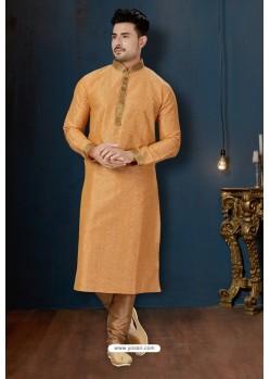 Light Orange And Beige Dupion Print Kurta Pajama