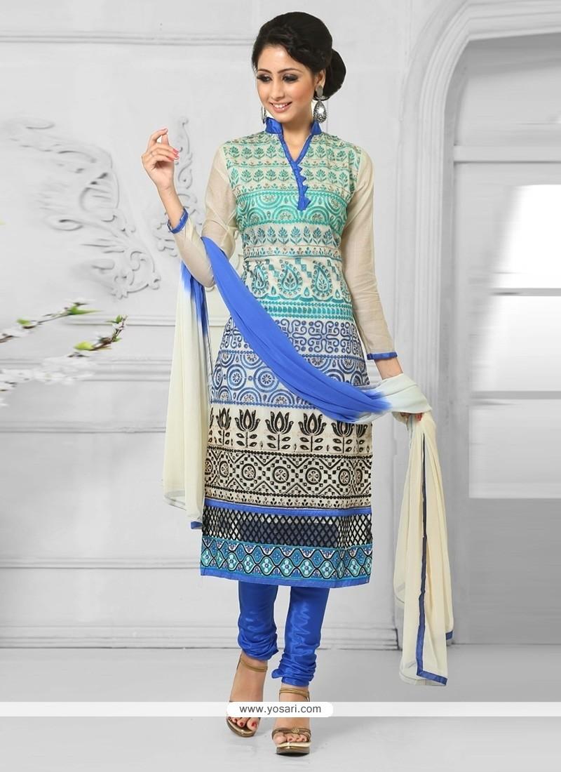 Swanky Cream And Blue Cotton Churidar Salwar Suit