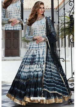 Off White And Black Designer Pure Cotton Silk Gown