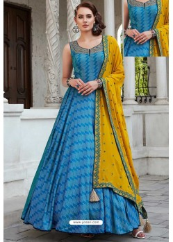 Blue Designer Partywear Pure Killer Gown