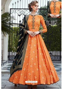 Orange Designer Partywear Pure Killer Gown