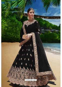 Black Heavy Faux Georgette Anarkali Suit