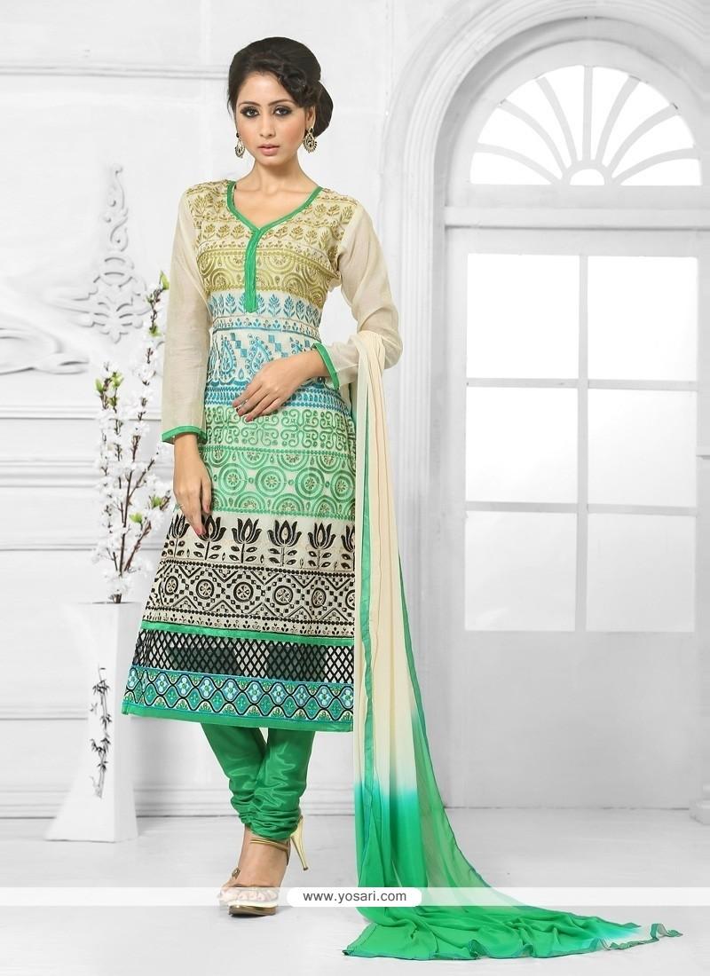 Cute Green And Cream Churidar Salwar Kameez