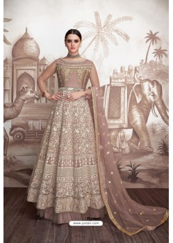 Light Brown Heavy Butter Fly Net Designer Anarkali Suit