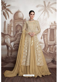 Cream Heavy Butter Fly Net Designer Anarkali Suit