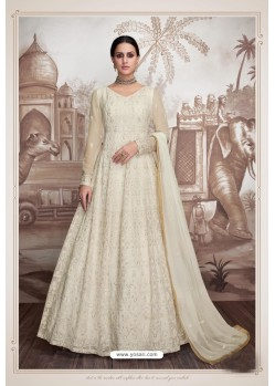 Off White Heavy Butter Fly Net Designer Anarkali Suit