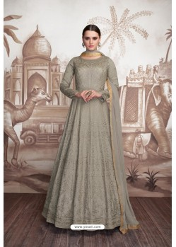 Taupe Heavy Butter Fly Net Designer Anarkali Suit
