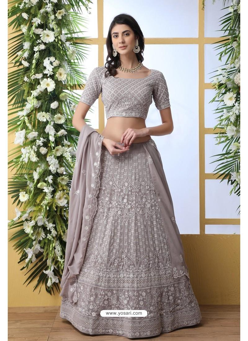 Grey Thread Embroidered Designer Lehenga Choli