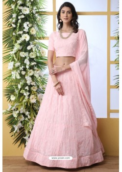 Baby Pink Thread Embroidered Designer Lehenga Choli