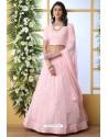Baby Pink Thread Embroidered Designer Lehenga Choli