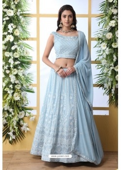 Sky Blue Thread Embroidered Designer Lehenga Choli