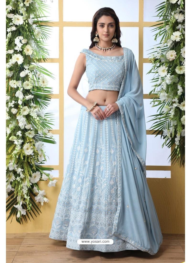 Sky Blue Thread Embroidered Designer Lehenga Choli