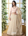 Light Beige Thread Embroidered Designer Lehenga Choli