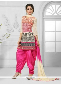 Impressive Cotton Resham Work Designer Patiala Suit