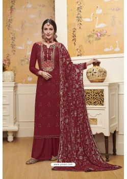 Maroon Blooming Faux Georgette Palazzo Suit