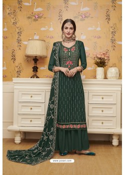 Dark Green Blooming Faux Georgette Palazzo Suit