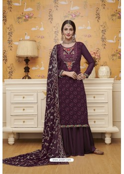 Purple Blooming Faux Georgette Palazzo Suit