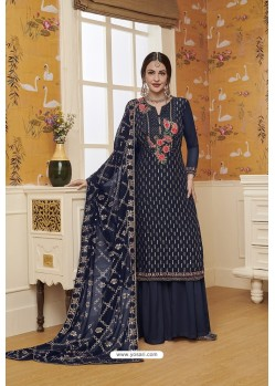 Navy Blue Blooming Faux Georgette Palazzo Suit